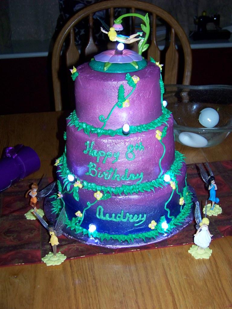 Tinkerbell Birthday Cake A 3 Tier White Cake Each Tier