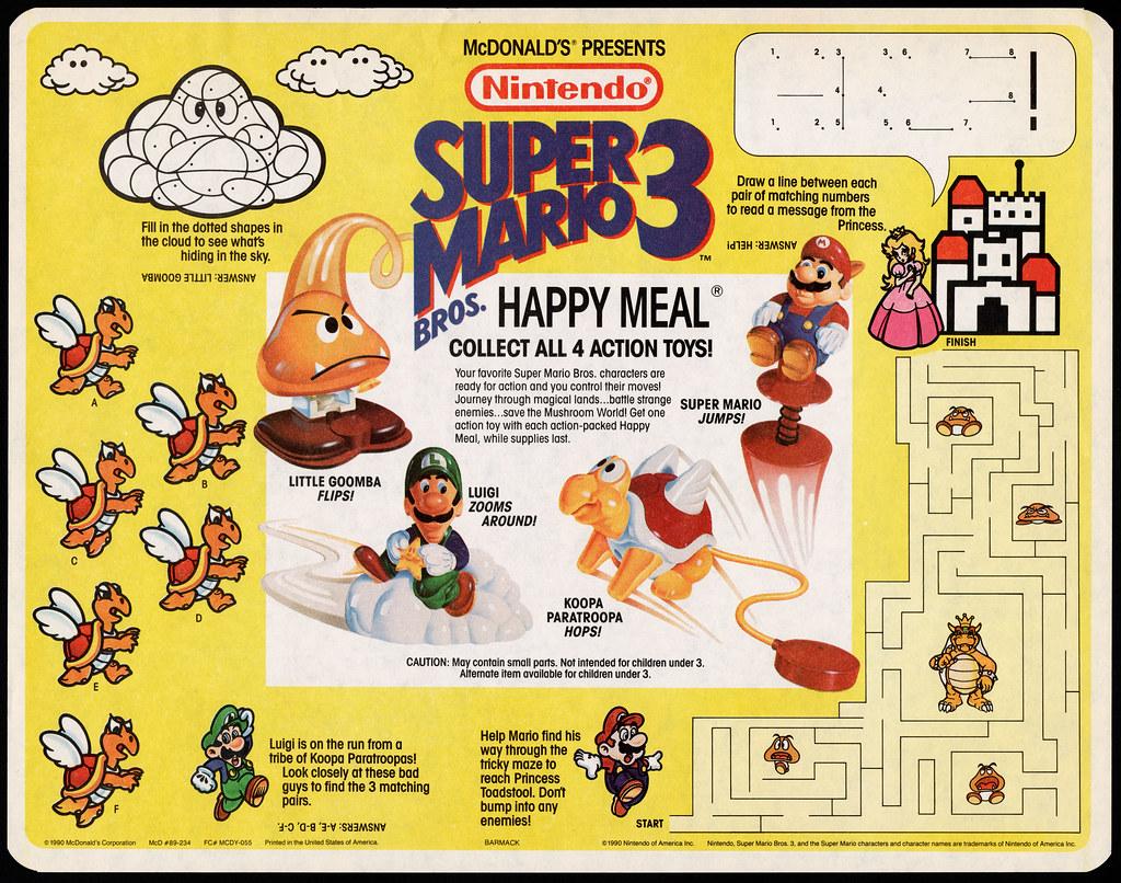 McDonalds Trayliner Placemat Nintendo Super Mario Brothe