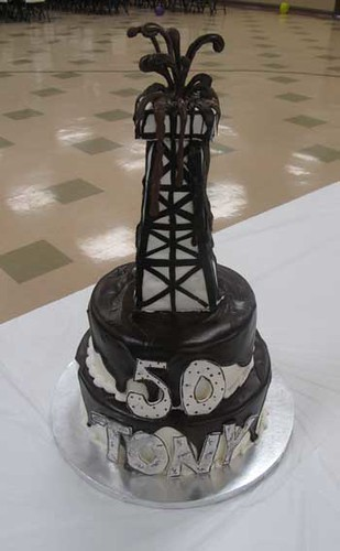 Oil Rig 50th Birthday Cake Chocolate And Yellow Cake