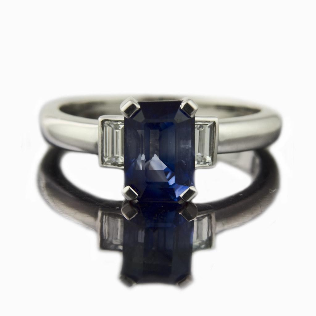 Emerald Cut Sapphire Engagement Ring Art Deco Style