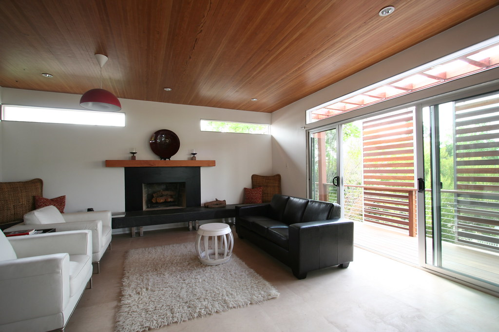 Living Room Vaulted Ceiling Of Recycled Wood Clerestory
