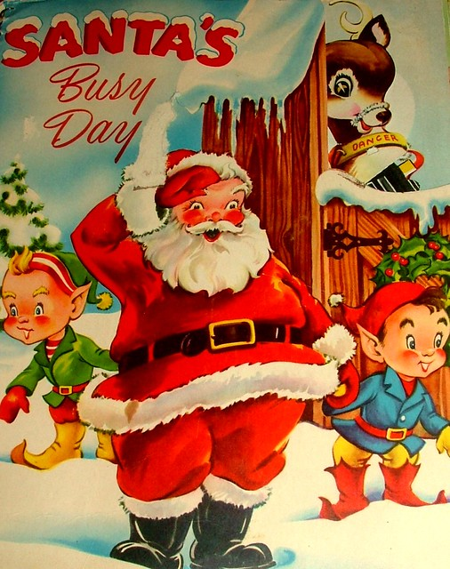 Cover Vintage Childrens Christmas Book With Flaps Fold