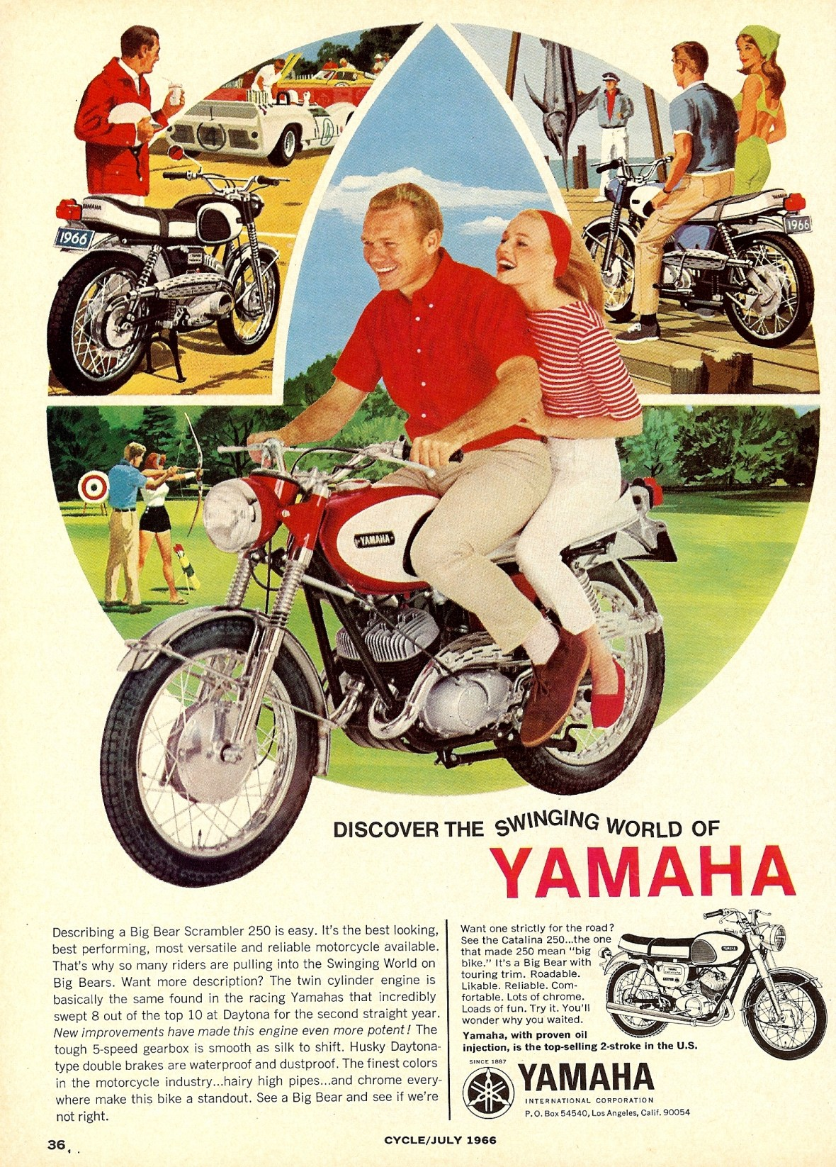 Yamaha Big Bear Scrambler 250 - published in Cycle - July 1966