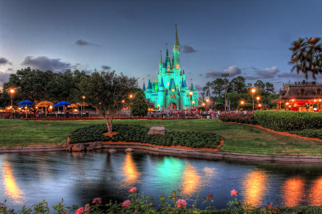 Green Disney Castle Just Before Sunset At The Cinderella