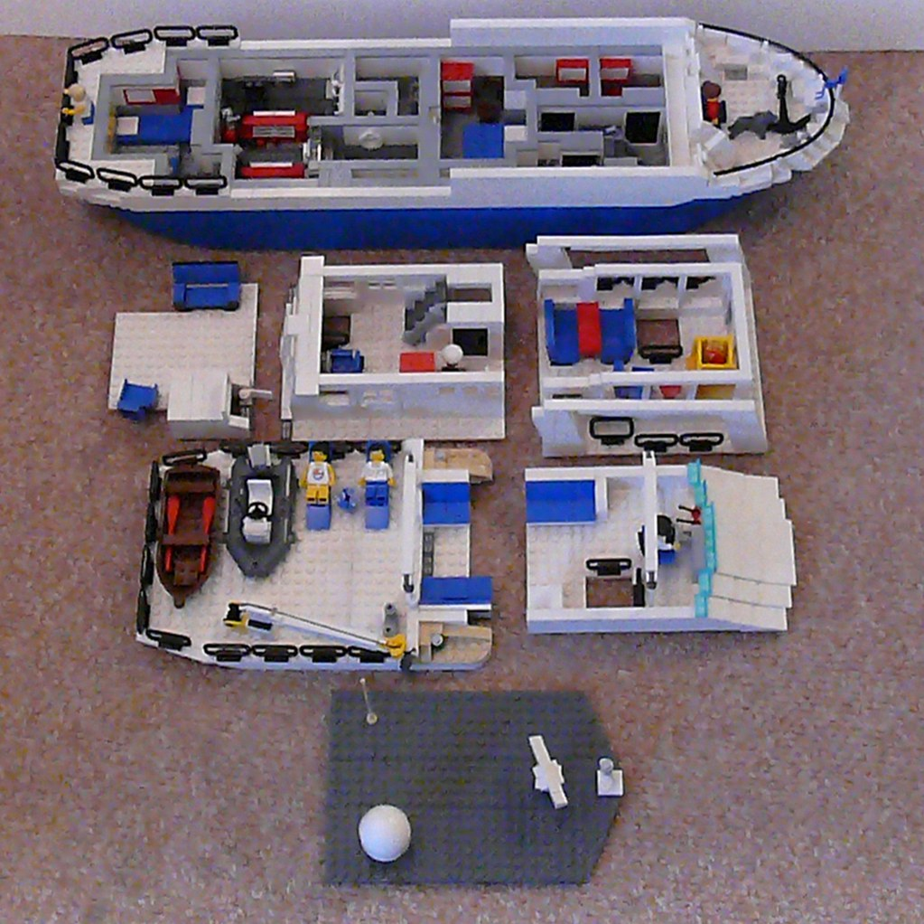 Disassembled Luxury Motor Yacht Based On Hull From LEGO