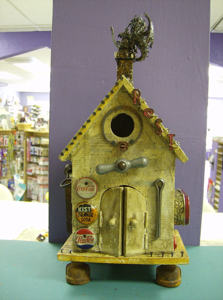 Altered Birdhouse My Completed Bird House Crazy To Do