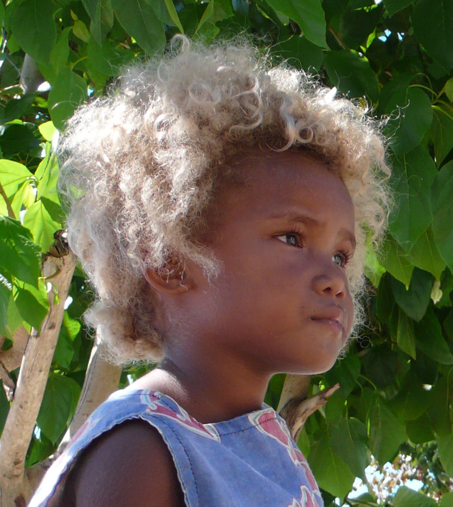 Blond On Black Beautiful Solomon Islander People Have