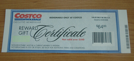 Costco Executive Membership Reward Gift Check Costco