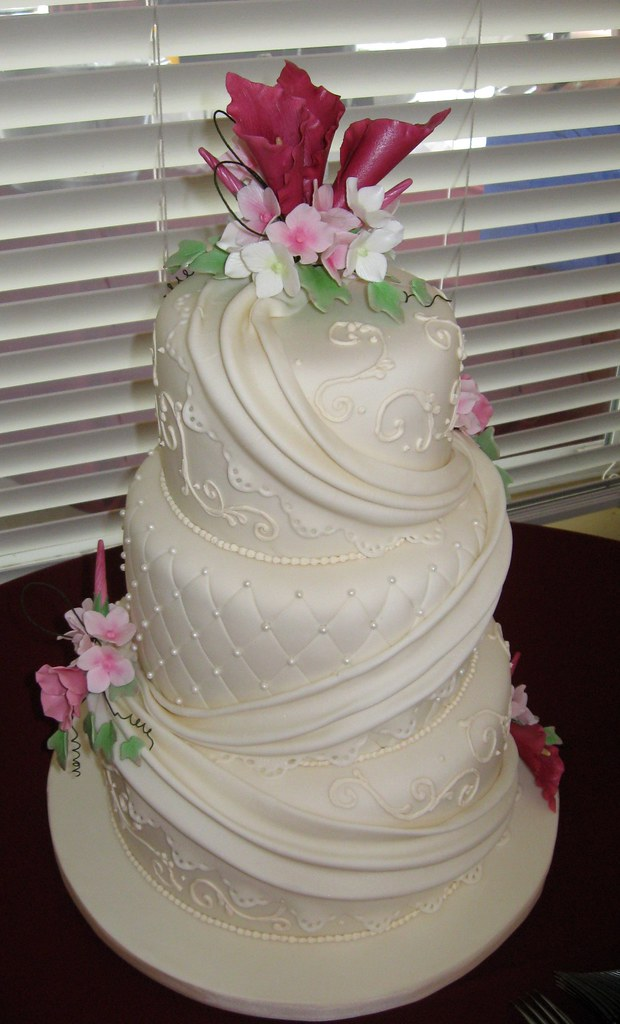 Ivory Pearls And Scrolls Wedding Wedding Cake With