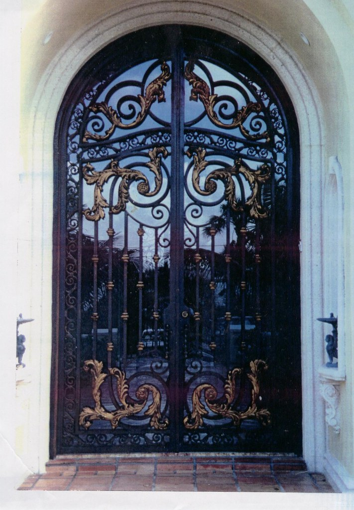 Custom Wrought Iron Entry Door With Bronze Leafs Included