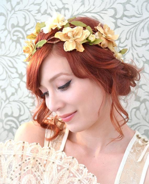 Wedding Floral Crown Rustic Bridal Hair Piece Golden Flo