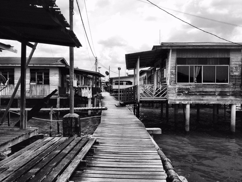 boardwalk in kampong ayer, brunei