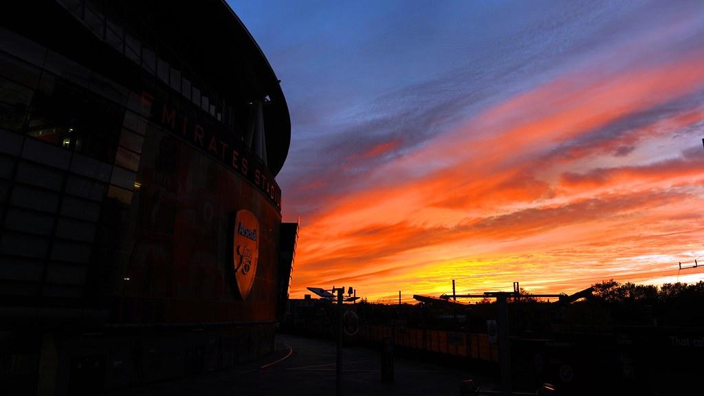 Arsenal Sunset over Emirates Stadium   Sunset over Emirates ...