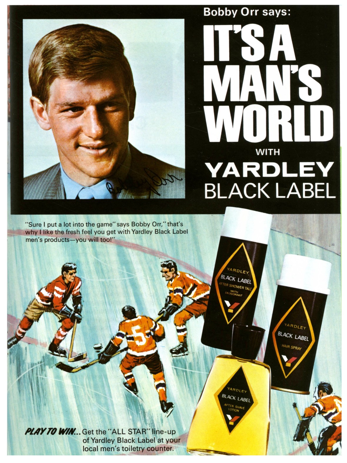 Yardley Black Label featuring Bobby Orr - 1970