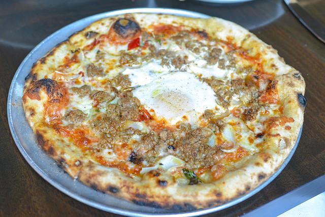 sausage, tomato, smoked mozzarella, calabrian chili, fennel, basil, farm egg