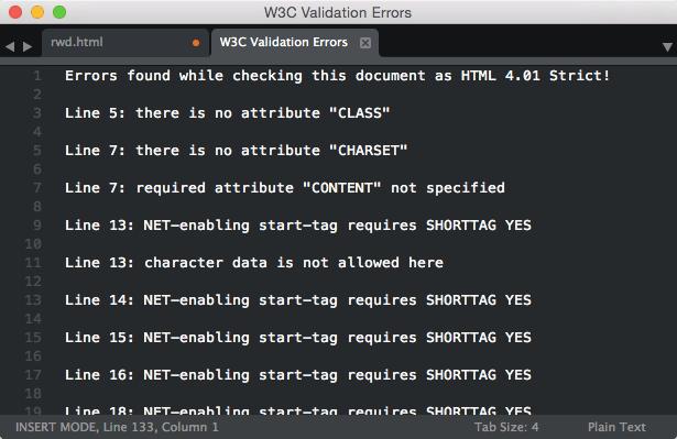 sublimetext-W3C Validation