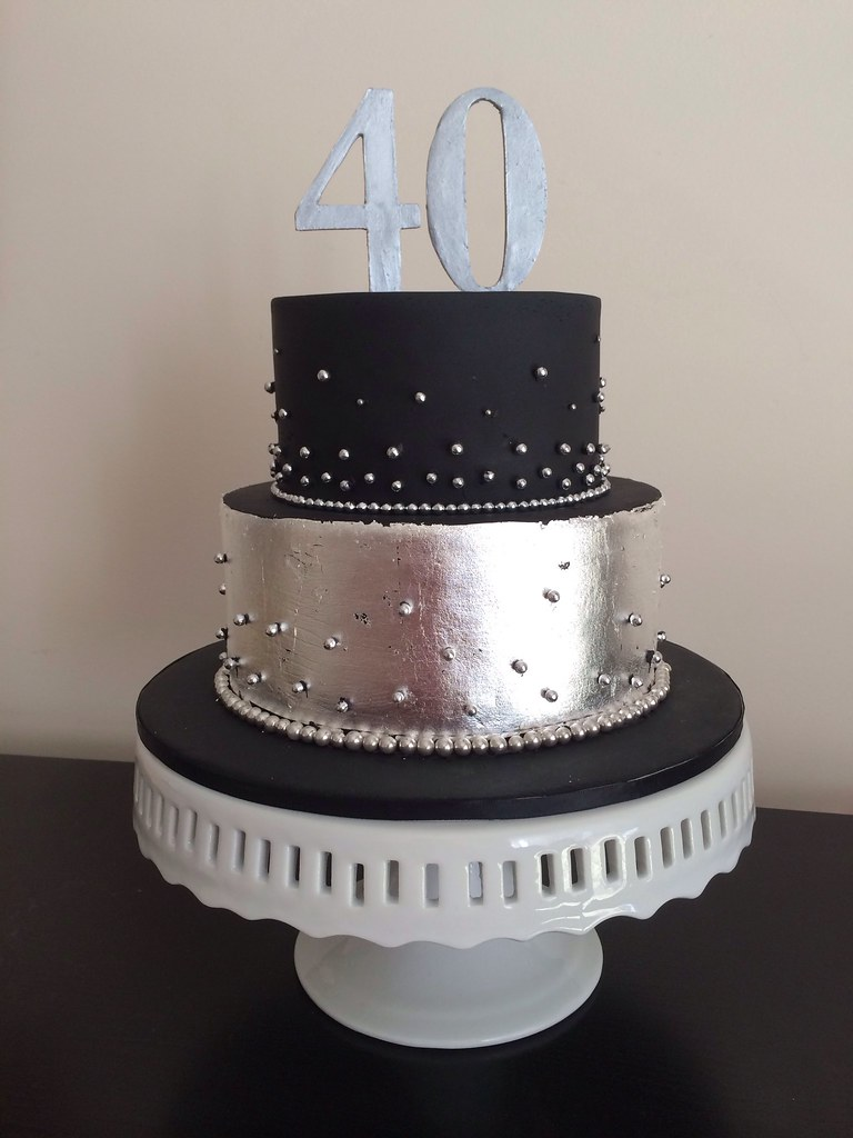 Black And Silver Leaf 40th Birthday Cake Teressa Sargent