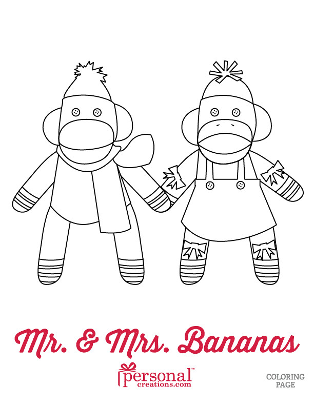 Christmas Sock Monkeys Coloring Page Www