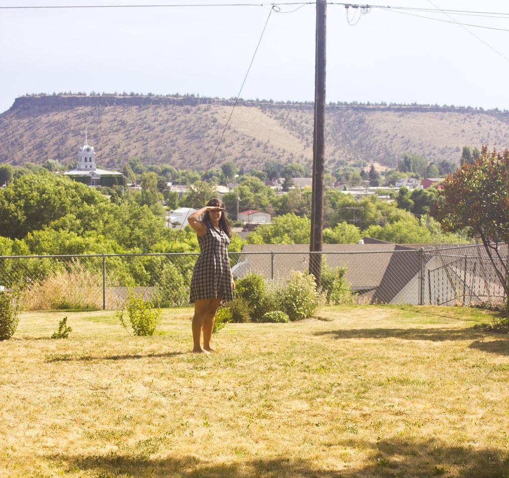 Oregon outside evening lawn view mountains prineville laila tapeparade laila check dress navy