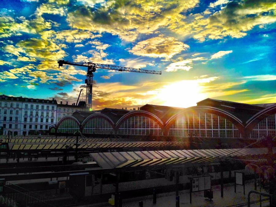 stunning sunset over copenhagen railway station