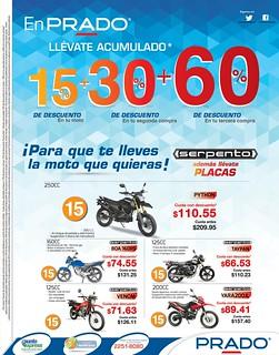 Descuento acumuado en PRADO promociones en motos serpento - 16sep14