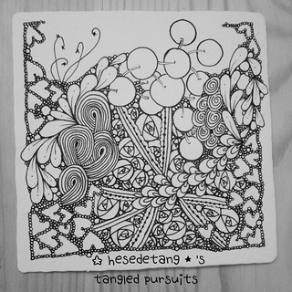 Zentangles - New tangle Cabbit and Diva Challenge Wk 222 (6/6)