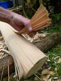 Pounding ash splints for baskets in the UK