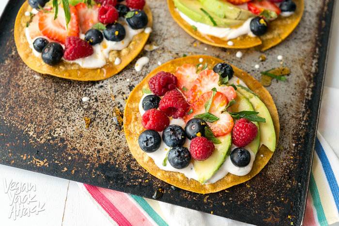 Sweet Breakfast Tostadas - A simple, delicious, breakfast snack made up of fresh fruit, sweet cream and crunchy tortillas! Vegan, Gluten-free, Soy-free #veganyackattack