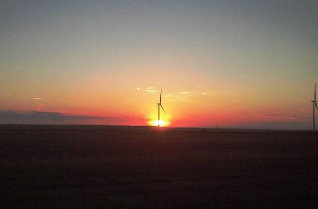 Wind turbine at dusk