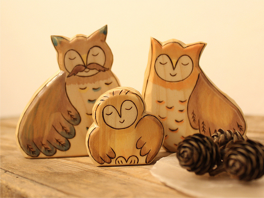 Wooden Owl Family Owl Baby Mom And Dad Animal Toys