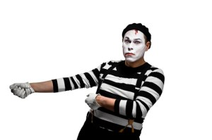 Mime pulling invisible rope | Studio portraits for an