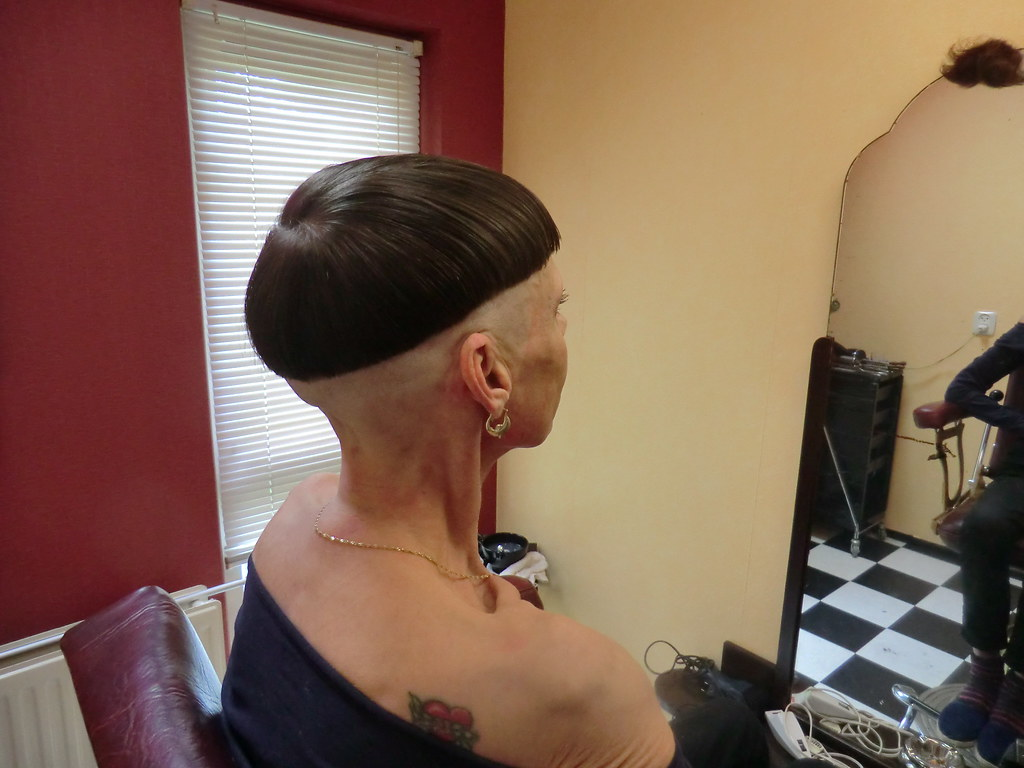 New Bowlcut With Shaved Sides And Nape Face Shave April