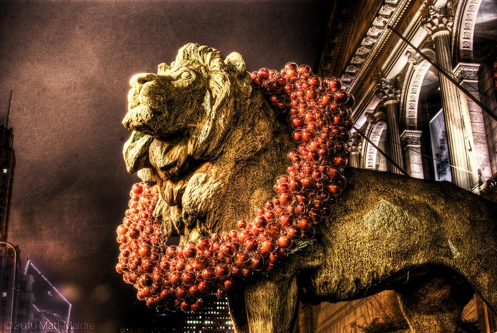 Chicago Art Institute Lions Wearing Red Bubble Christmas W