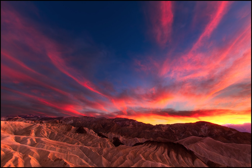 Death Valley Sunset At Zabriskie Point In Death Valley
