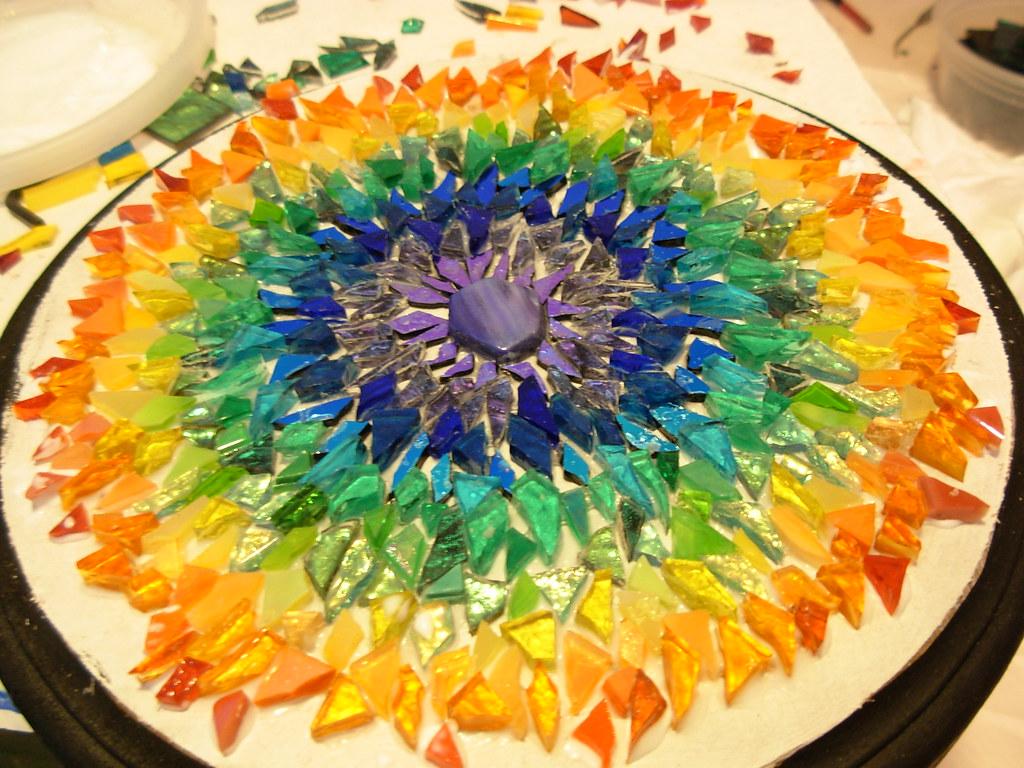 Rainbow Mosaic Mandala In Process Glass On Wood Lots Of