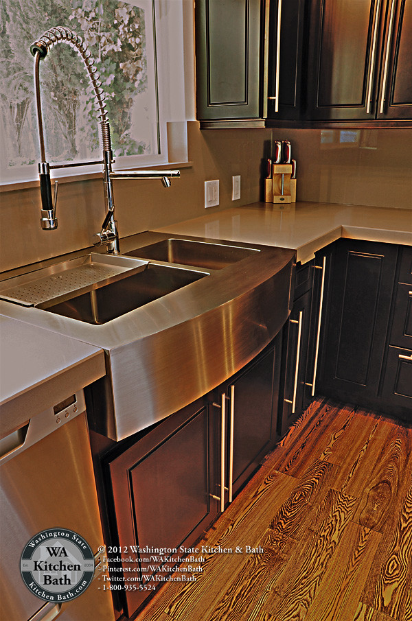 800 935 5524 Stainless Steel Apron Sink On Espresso Mapl