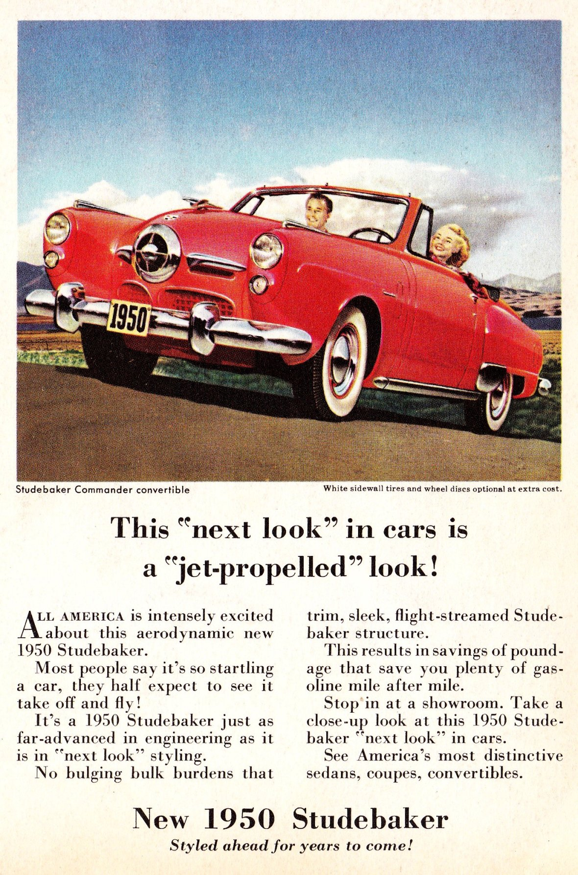 1950 Studebaker Commander Convertible - published in 'Coronet' - January 1950