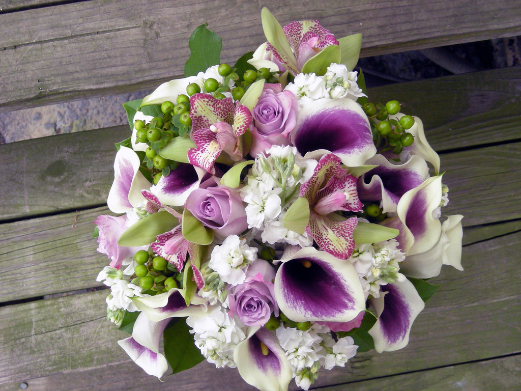 Green White Bouquet And Purple Wedding