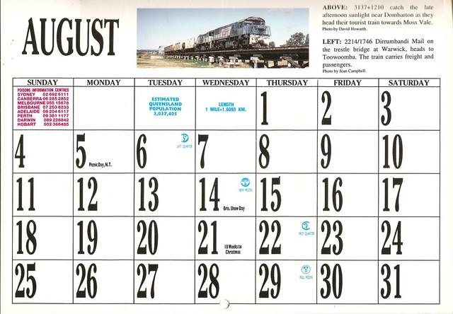 1996ATC0019 August Page 1996 Australian Trains Calendar