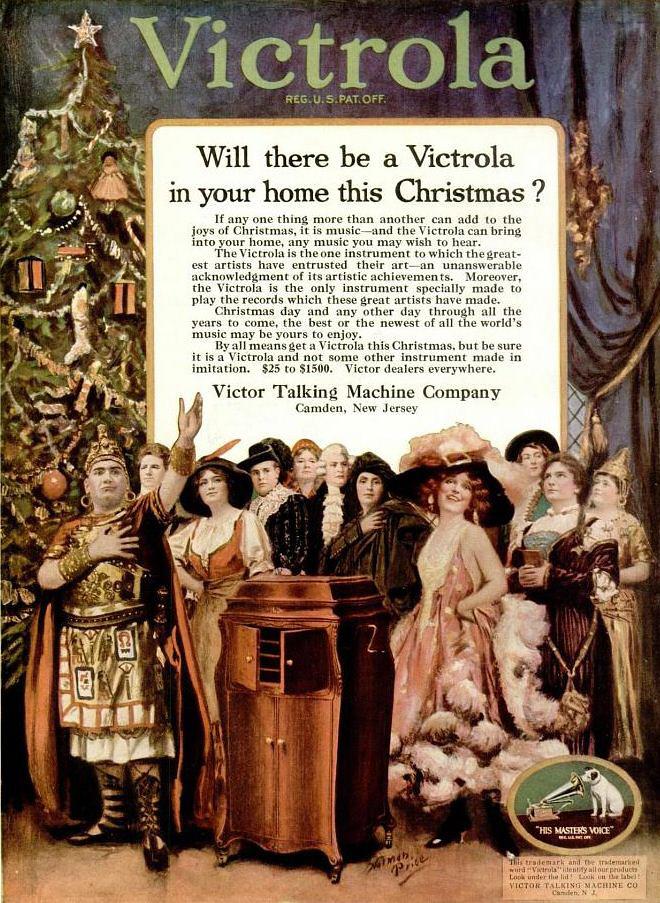Vintage Advert For Victrola Gramophones Christmas 1920