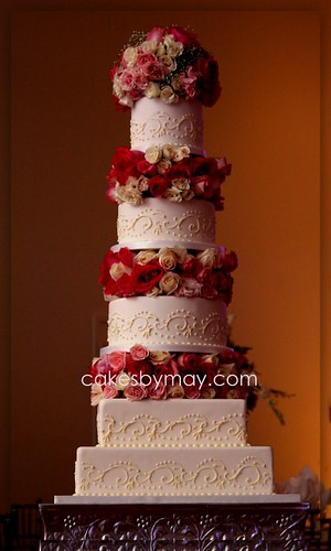 5 Tier Wedding Cake With Fresh Flowers Flickr Photo
