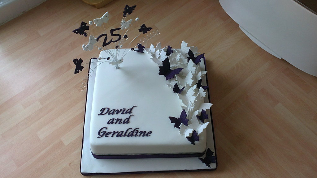 Butterfly 25th Silver Wedding Anniversary Cake Deep