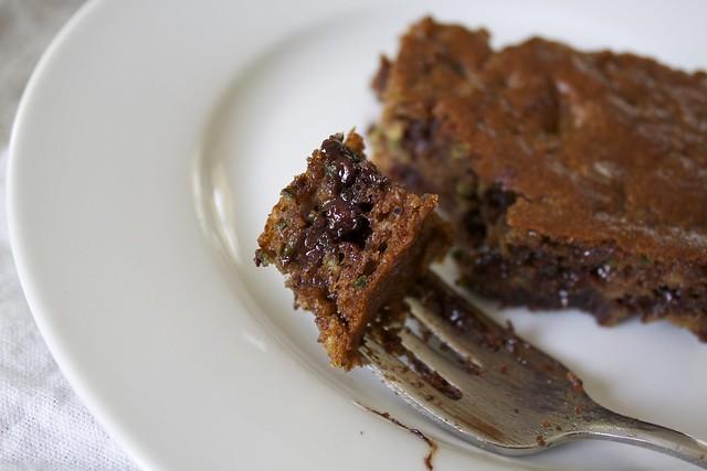 a bite of flourless chocolate chip zucchini snack cake