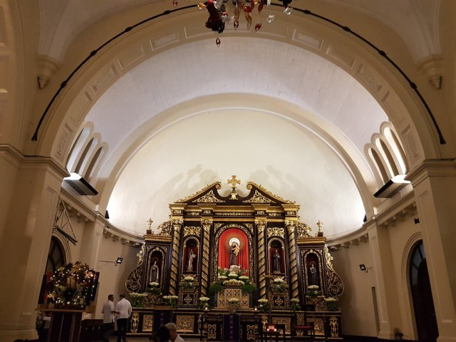 The image of St. Anthony of Padua, after whom the church is dedicated, at the center of the church altar