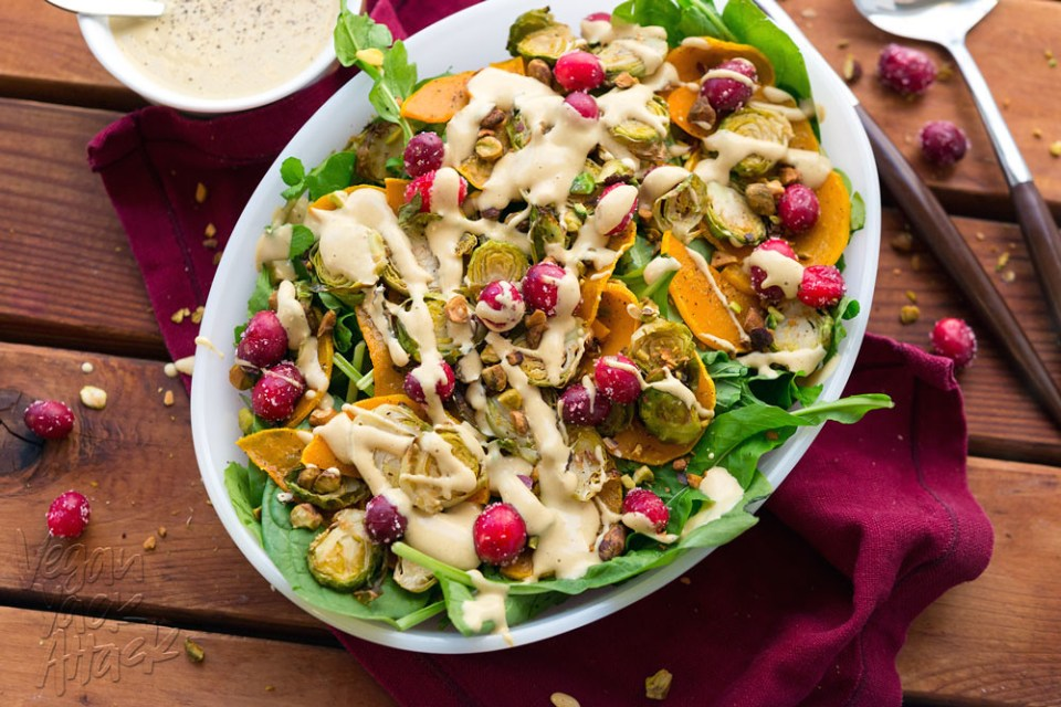 This Brussels Sprout Butternut Squash salad is the perfect, colorful recipe for your holiday table! And the oil-free, creamy dressing is amazing. #vegan #DoPlants #soyfree #spon @VeganYackAttack