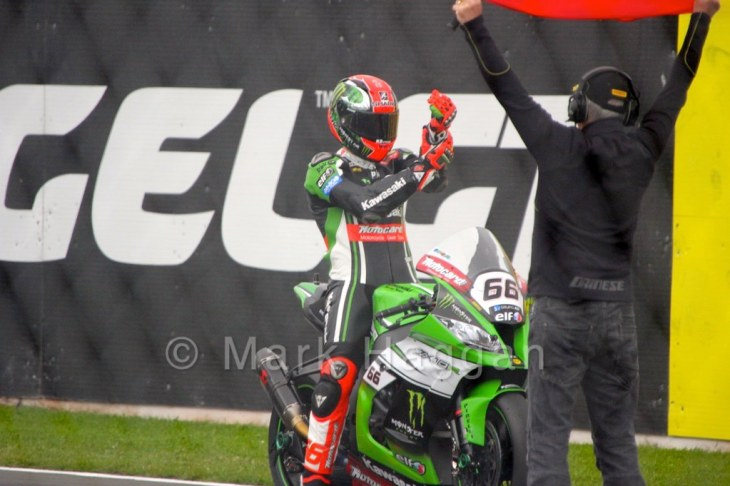 Tom Sykes prepares for World Superbikes Race 1 at Donington, May 2015