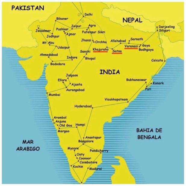 Mapa India Satna Varanasi