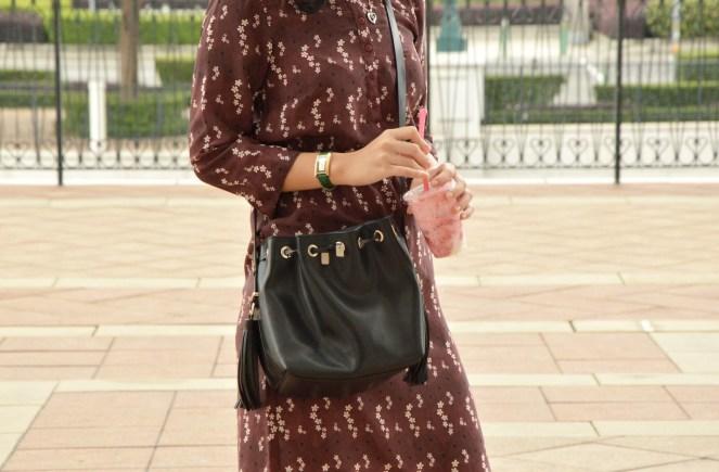 vintage retro dress, zara leather black bucket bag, the venetian macao, macau, summer outfit