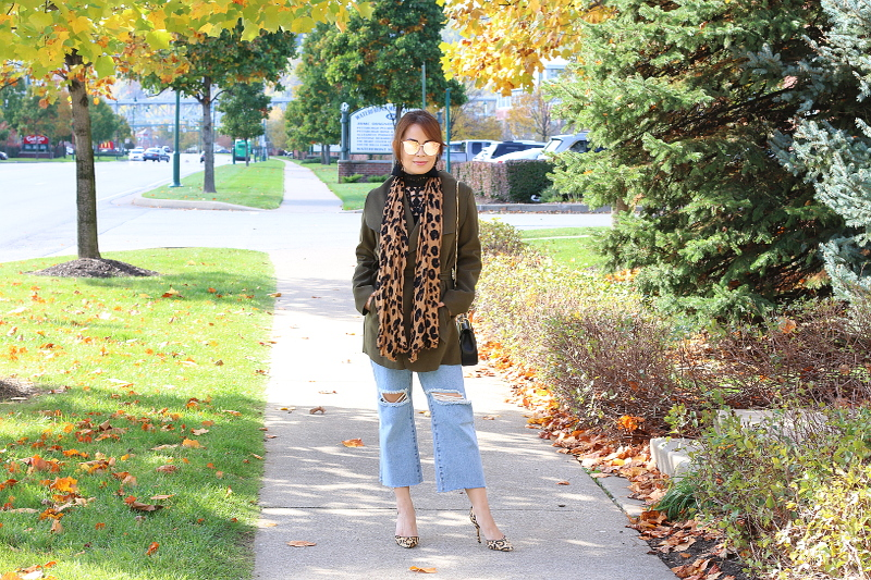 olive-green-coat-kick-flare-jeans-leopard-scarf-1