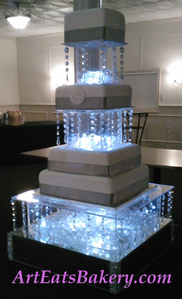 Four Tier Square Modern Wedding Cake With Silver Gray Ribb